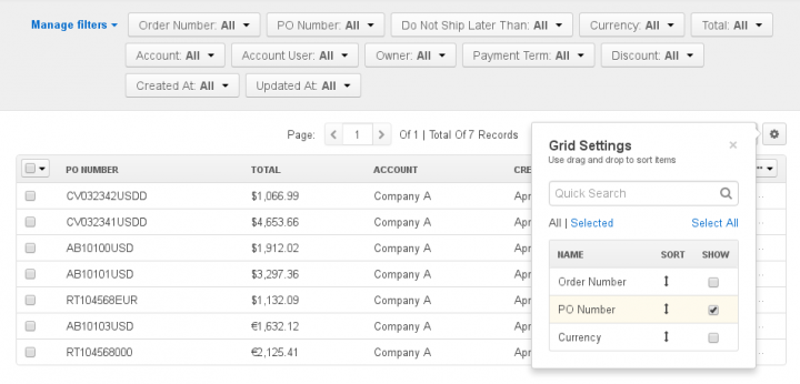 Customizing Data Grids in OroCommerce