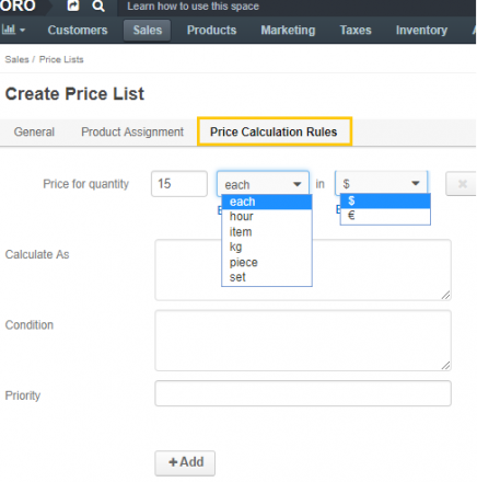 price calculation rules in orocommerce