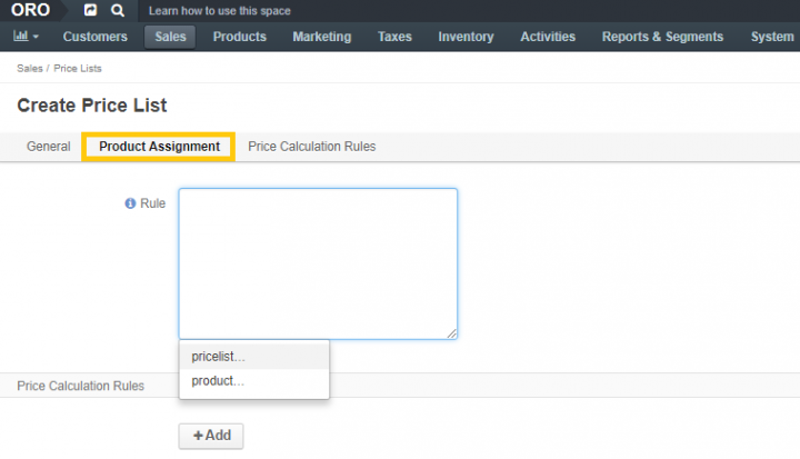 product assignment feature in orocommerce