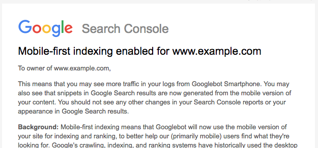 Google mobile first indexing notification in Search console