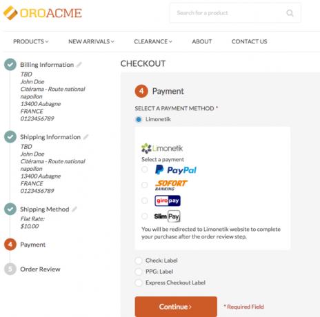 OroCommerce Limonetik integration