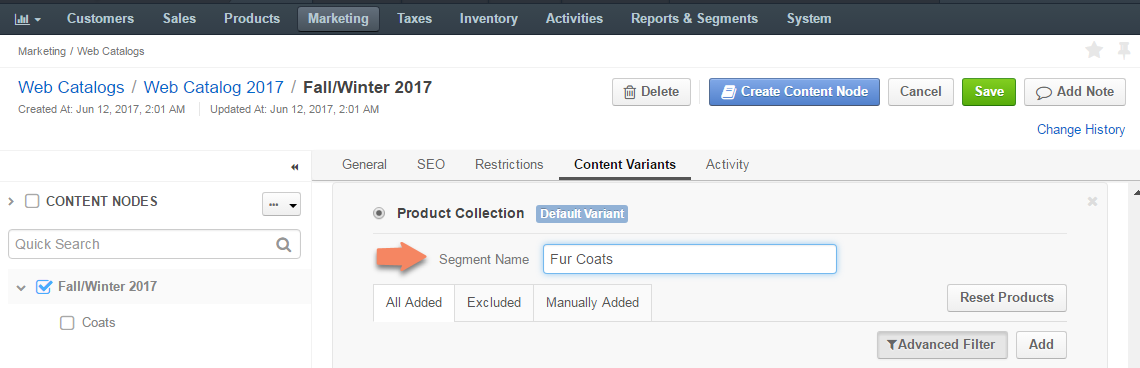 Enter the segment name for the product collection in the provided field