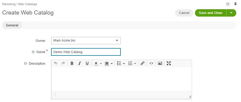 Create a new web catalog page