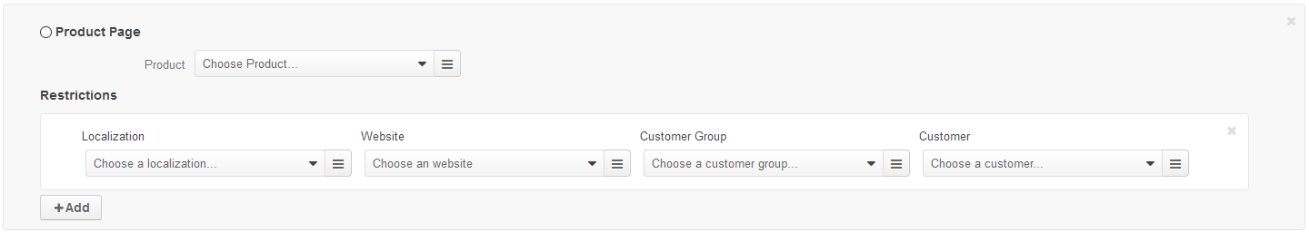 Add product page and specify the restrictions