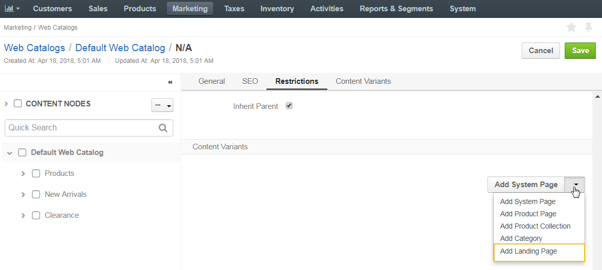 Add a landing page with a consent as a content variant to a web catalog