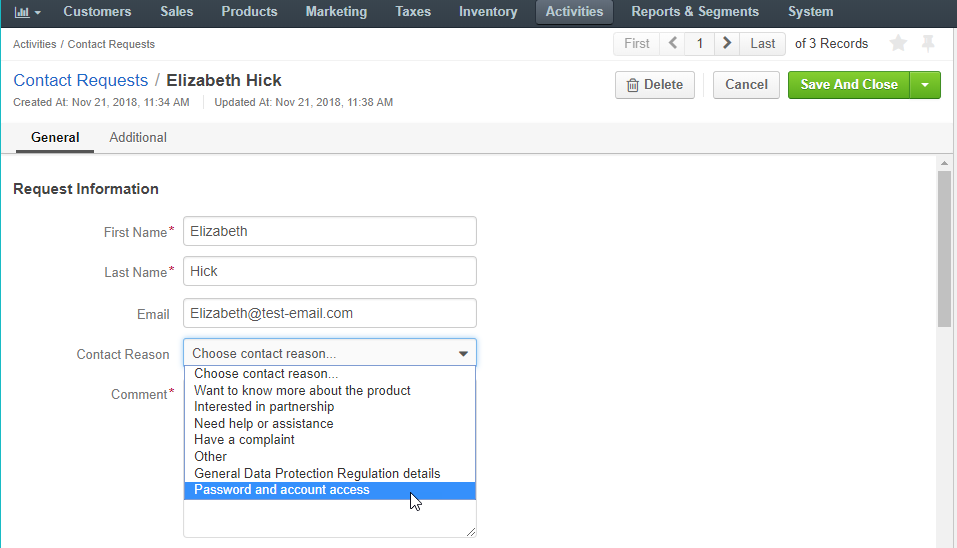 Assign a contact reason manually when editing a contact request