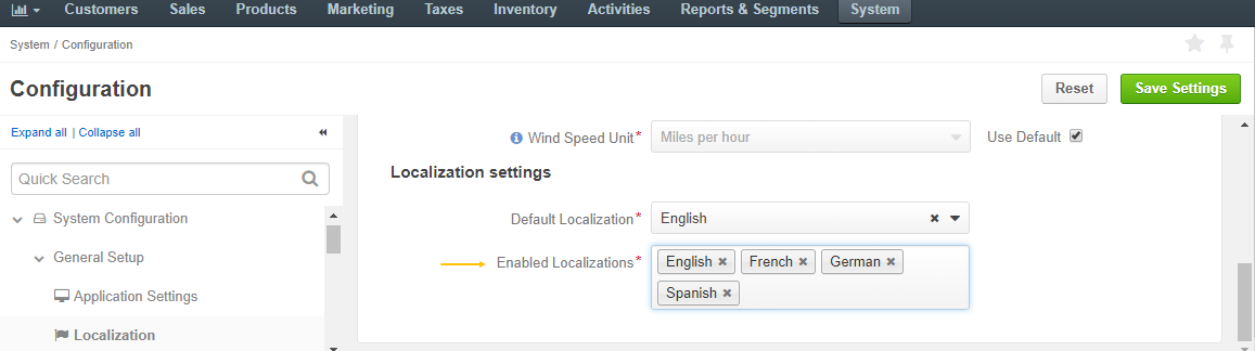 Add the necessary localizations to the list of enabled localizations