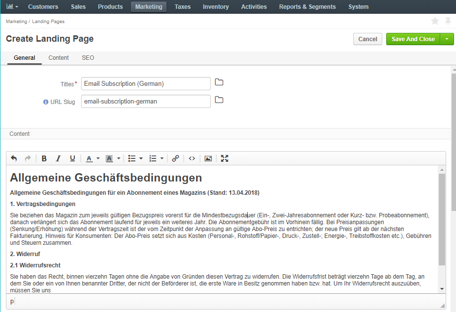 A sample of the consent landing page with the title and text of the consent in German