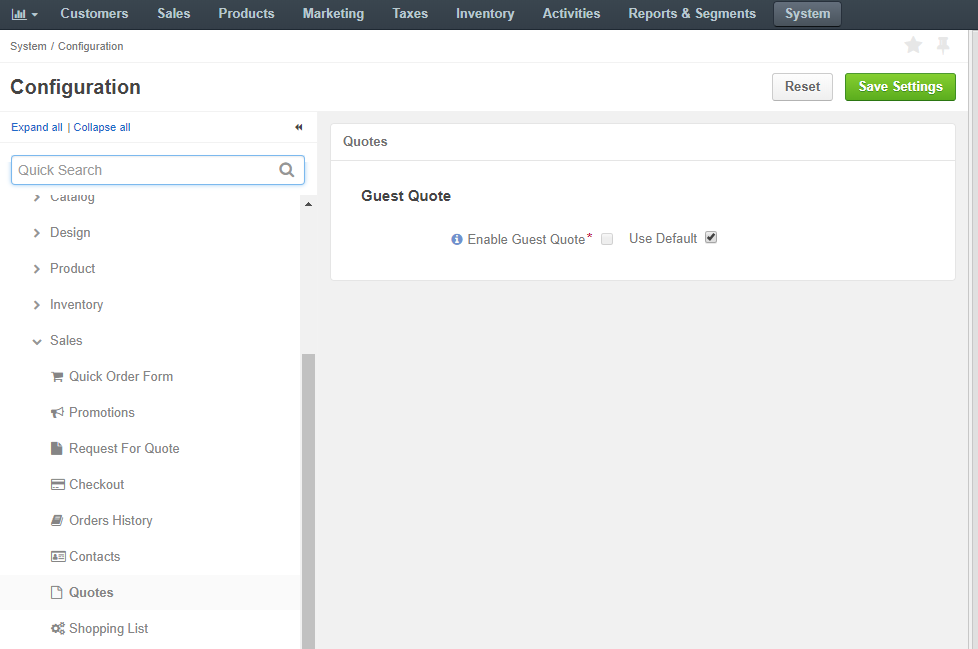 System configuration option for enabling guest quotes