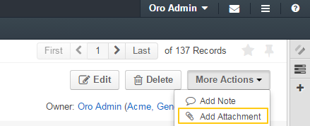 The add attachment button becomes available if the enable attachments field is set to `yes`