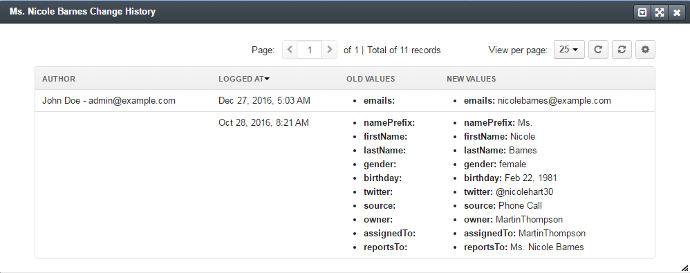 The logging audit report displayed in the change history section when the auditable option is set to `yes`