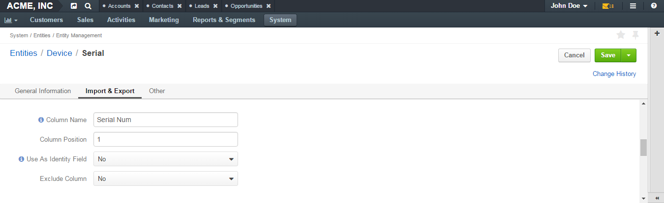 Basic settings of the import and export section available when creating a new entity field