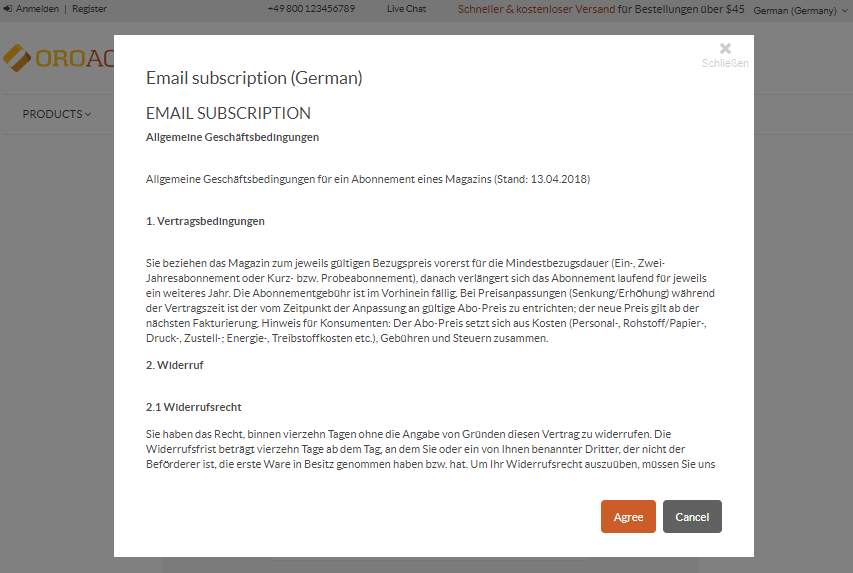 A sample of the consent landing page translated to German