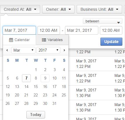 Dates and time ay the calendar menu