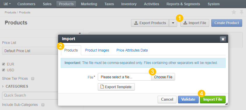 Importing Product Information - OroCommerce