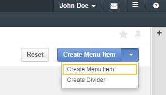 Create menu item button