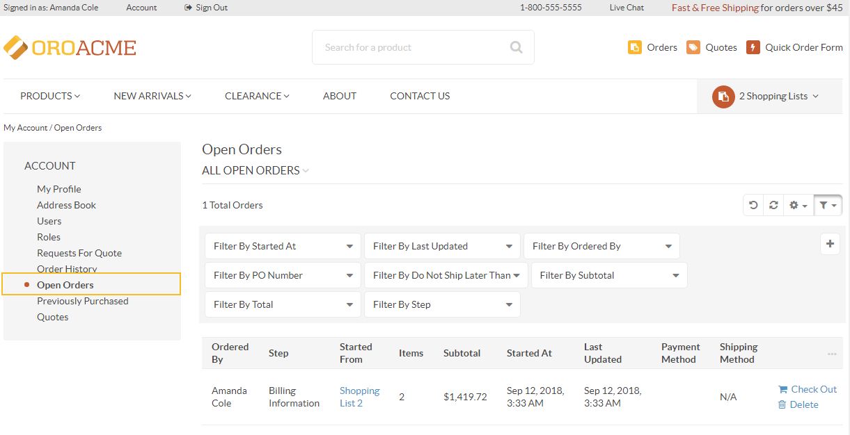 Open orders as a separate menu item in orocommerce storefront