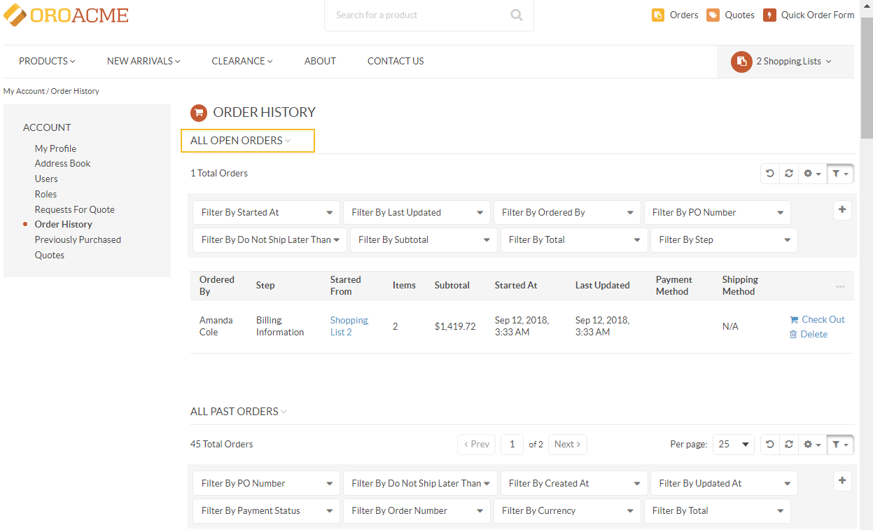Open and past orders on the same page in orocommerce storefront