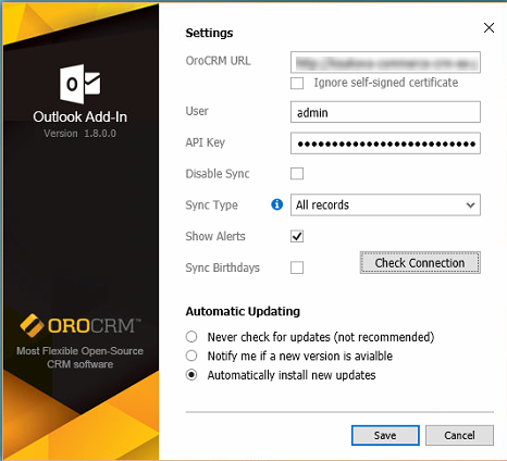 General outlook add-in settings available when configuring the integration between applications
