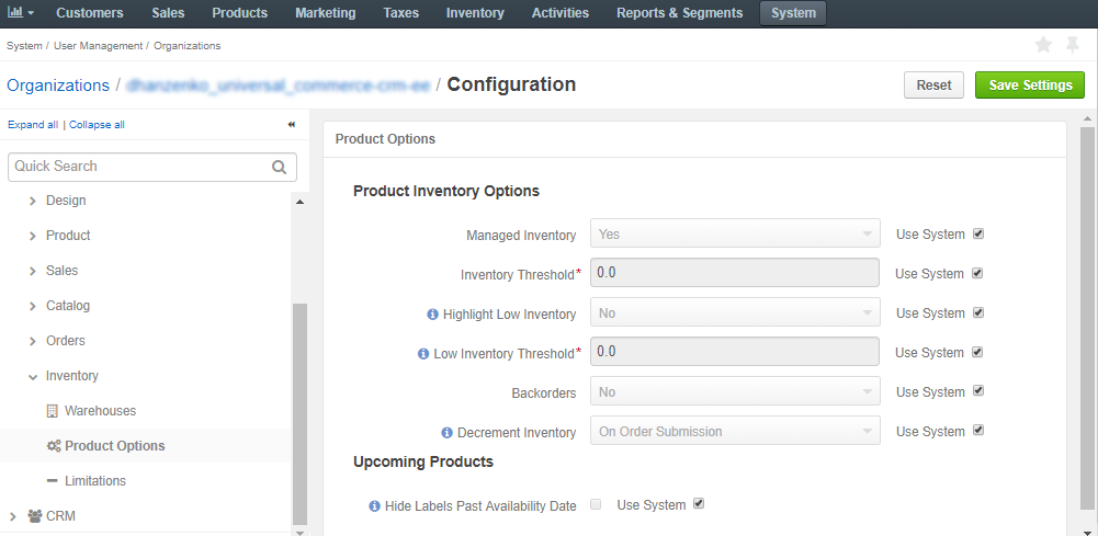 Product options configuration per organization