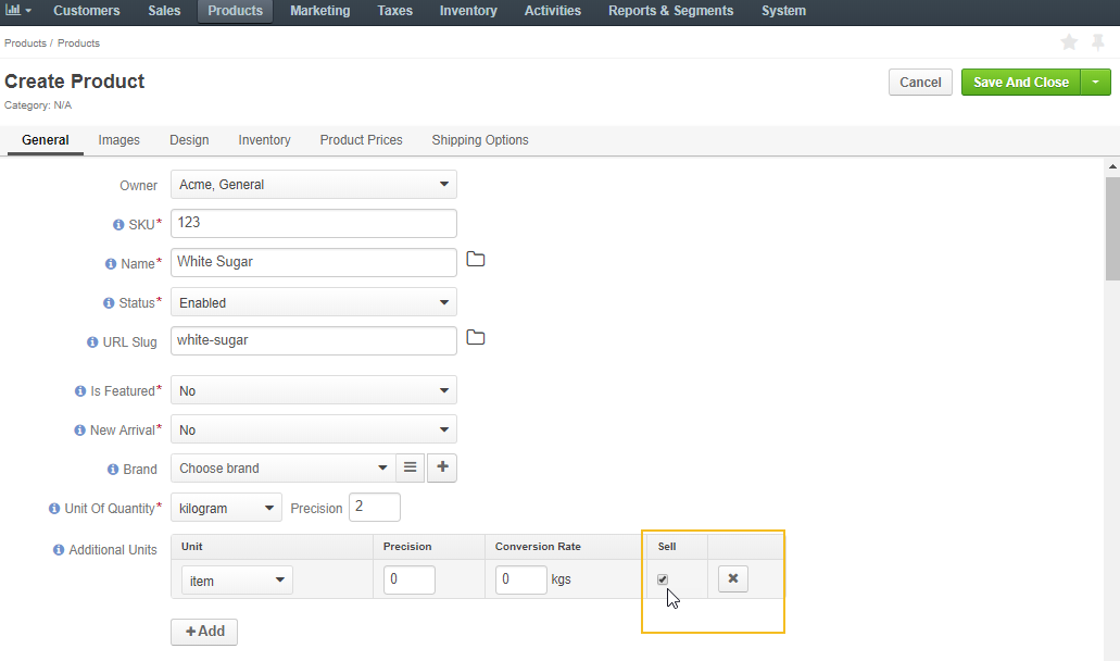 Enables sell checkbox for a product unit