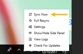 The sync now button displayed on the bottom right of your screen when right-clicking the outlook add-in icon