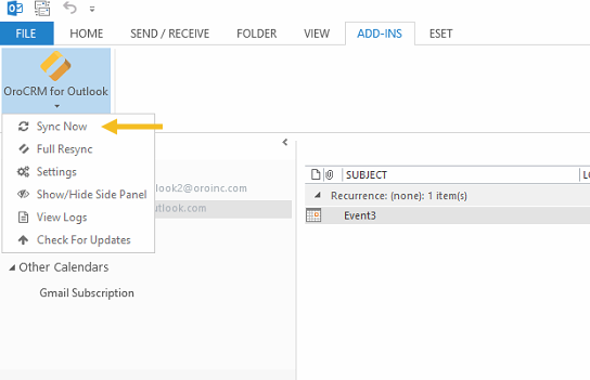 The sync now button displayed in the orocrm for outlook settings menu