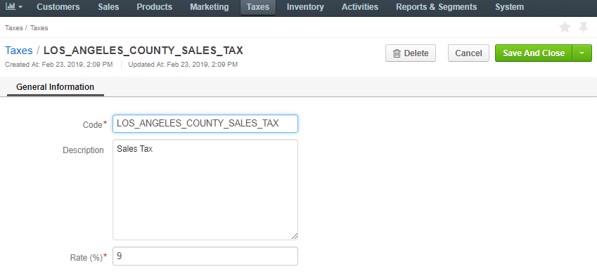 Edit the tax rate details
