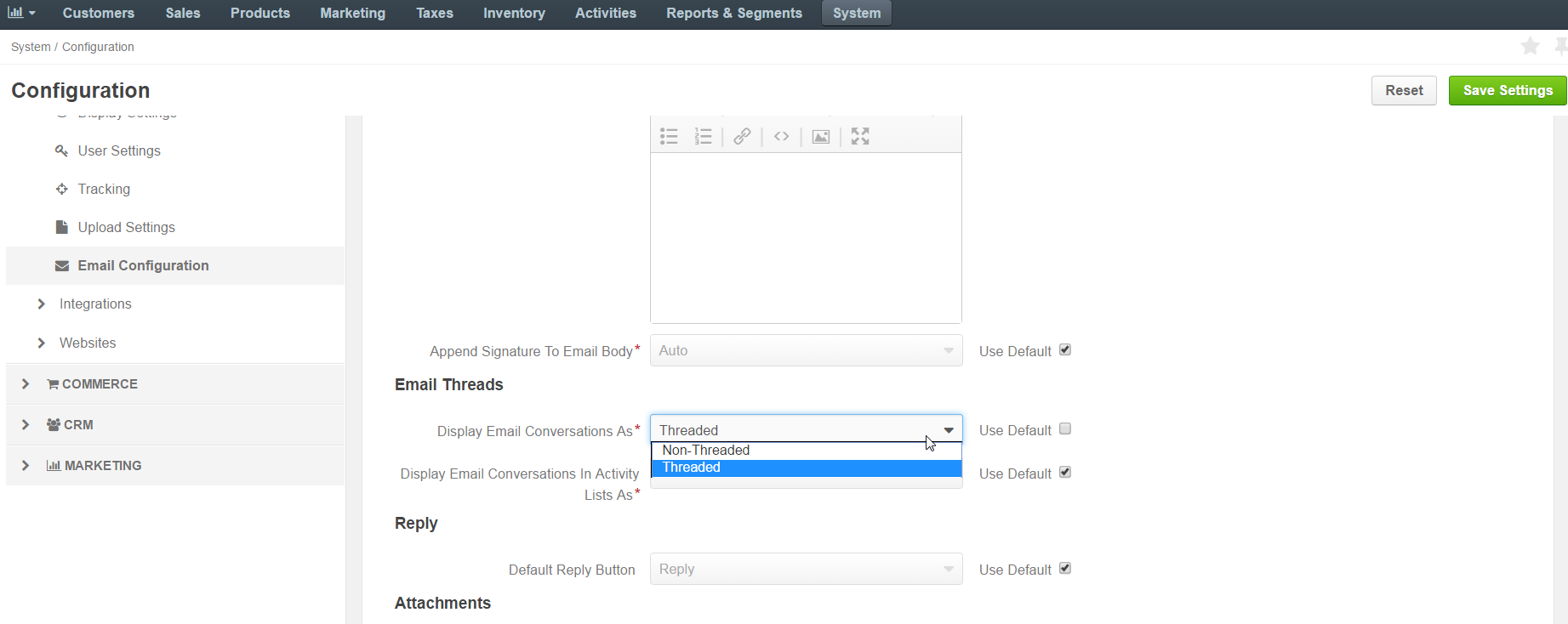 Selecting email threads options in the email configuration