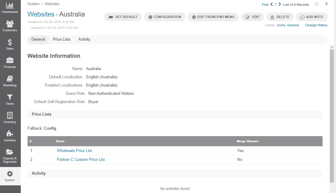 View the details of Australia website