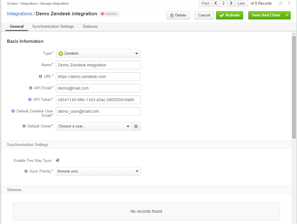 Zendesk Integration - OroCommerce