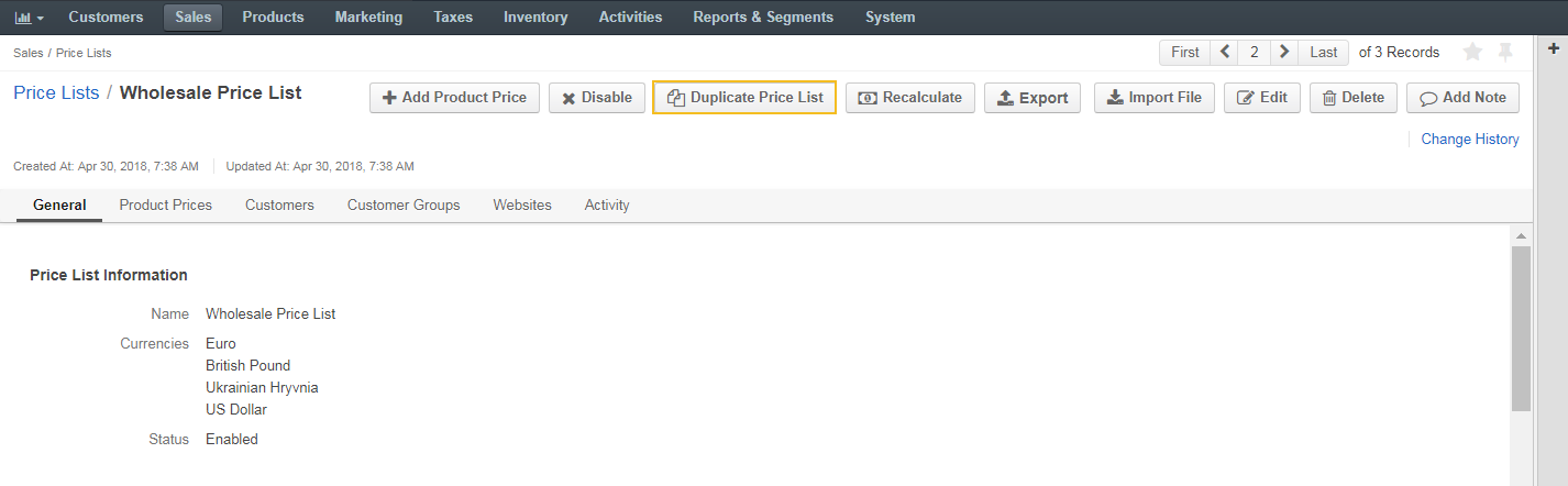 Duplicate price list button on the price list details page