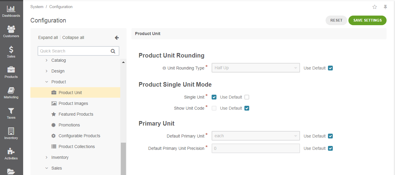 The product units configuration page