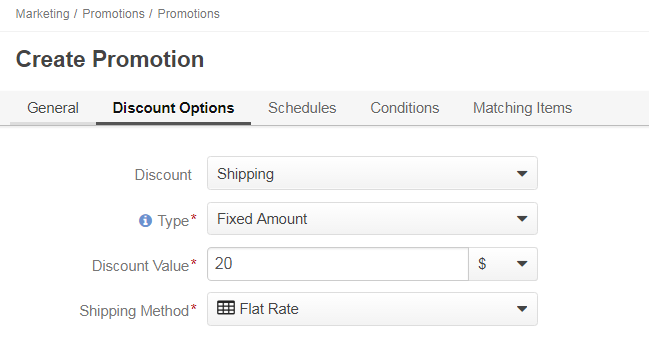 An example of a shipping promotion