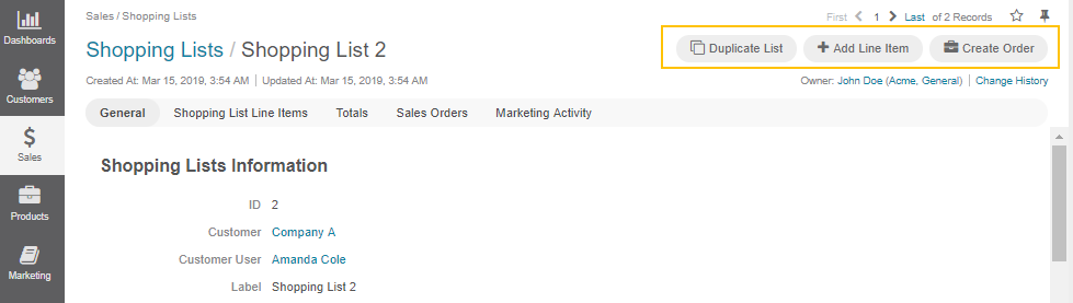 The actions you can perform from the shopping list view page