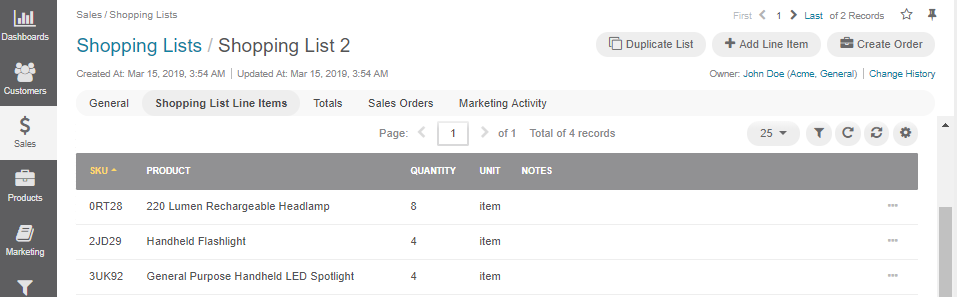 The shopping list details specified in the Shopping List Line Items section