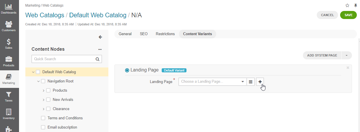 Create a new landing page from the web catalog page