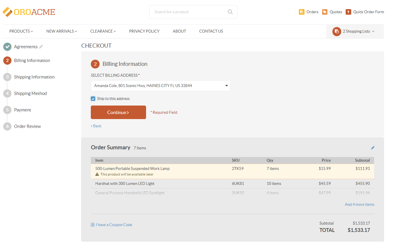 The billing information step at the checkout (with consents)