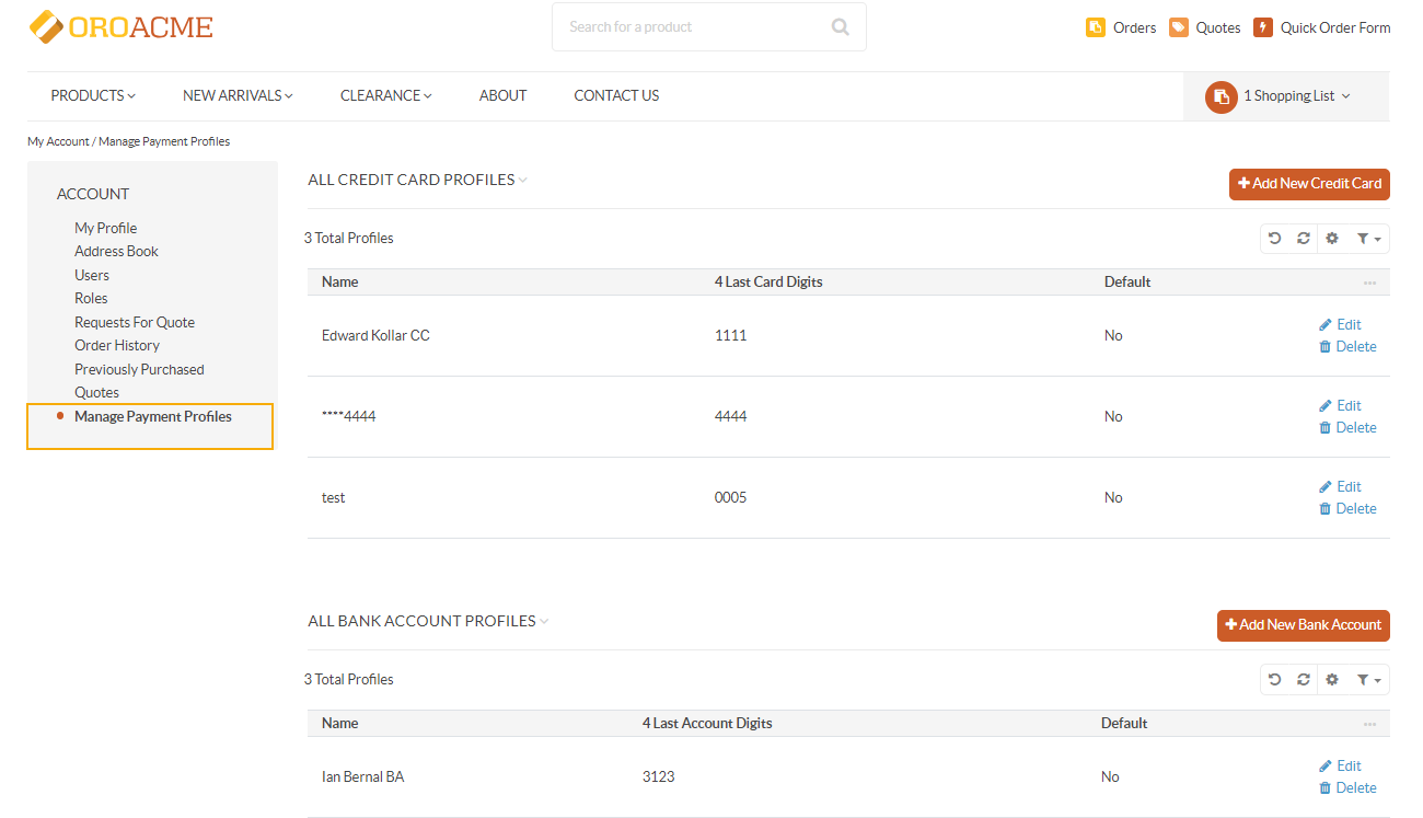 Manage Payment Profiles section in the storefront