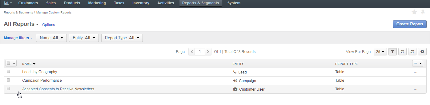 The table of all reports with the newly created report with accepted consents