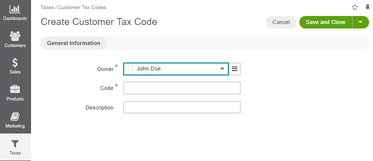 Create a customer tax code