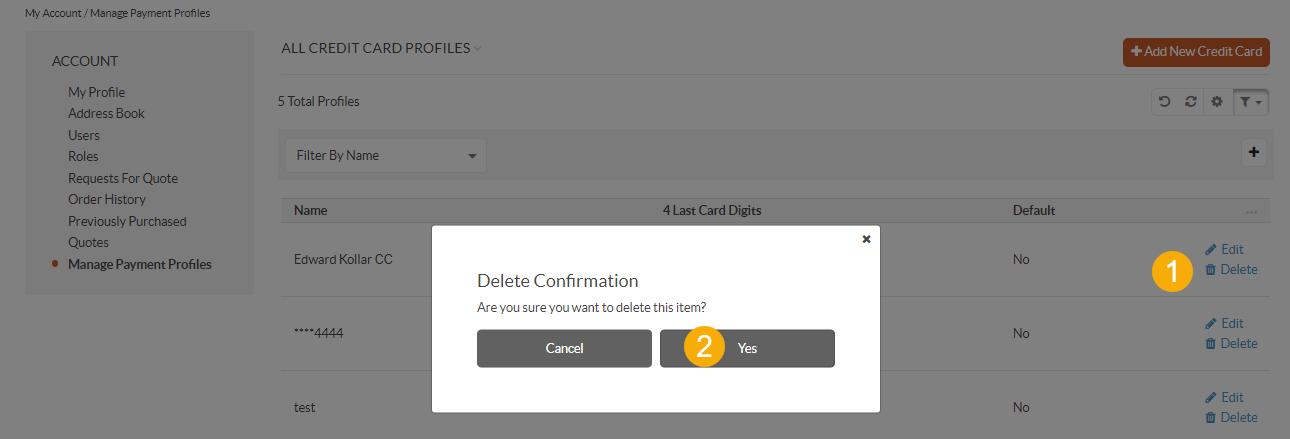 Delete a credit card profile