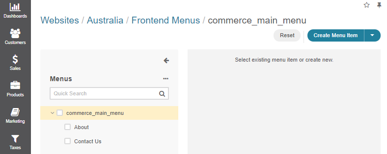 Click on the menu to start customizing it