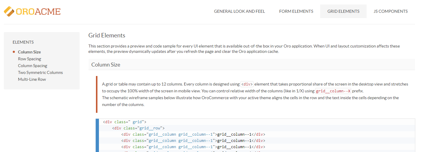 The grid elements section of the frontend stylebook