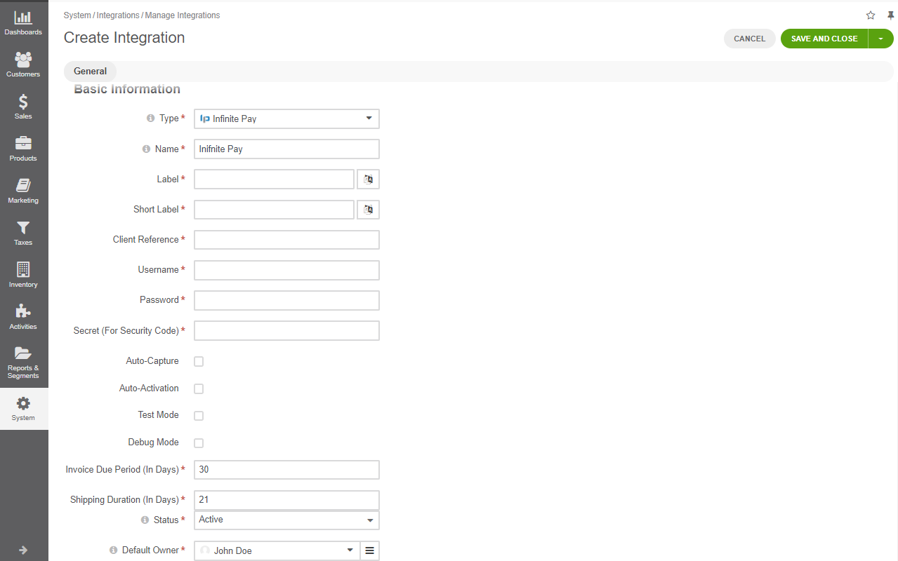 The form for creating a new integration in OroCommerce