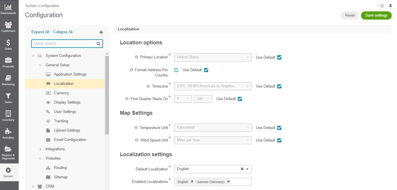 Global localization configuration options