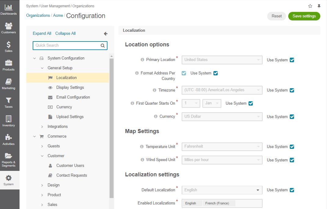 Localization configuration options per organization