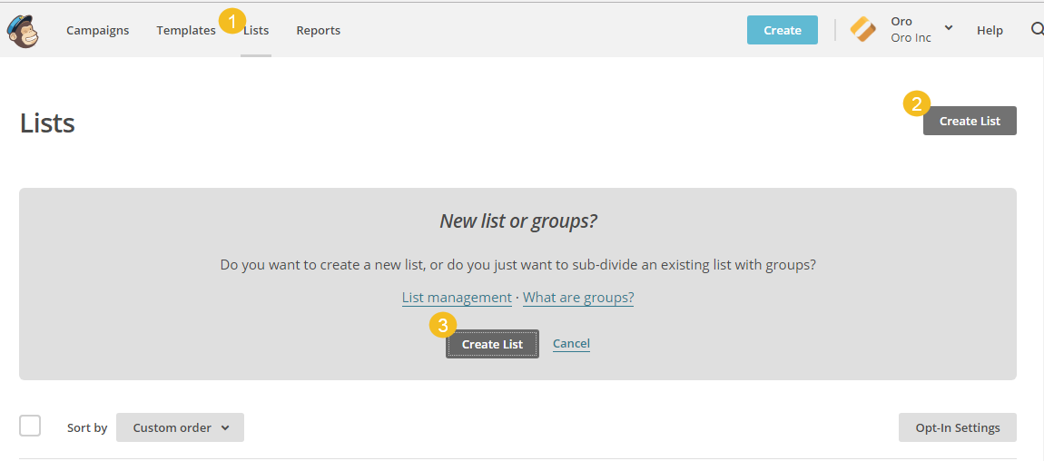 Create a new marketing list in MailChimp