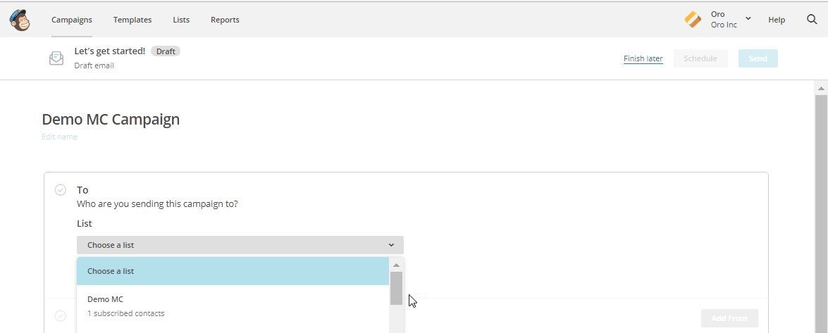 Select the list segment for the email campaign in MailChimp