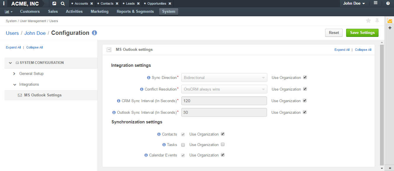 Integration and synchronization settings options displayed in the ms outlook menu on the user level